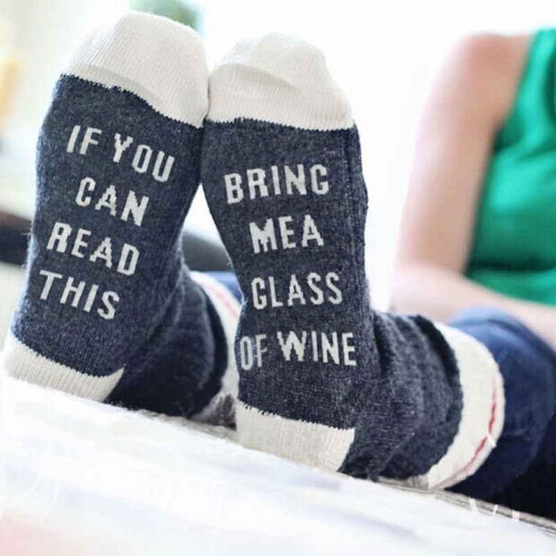 2018 Fashion Socks Letter If You Can BRING ME A GLASS OF WINE Male Women Neutral Casual Cotton Humor Funny In The Tube Socks