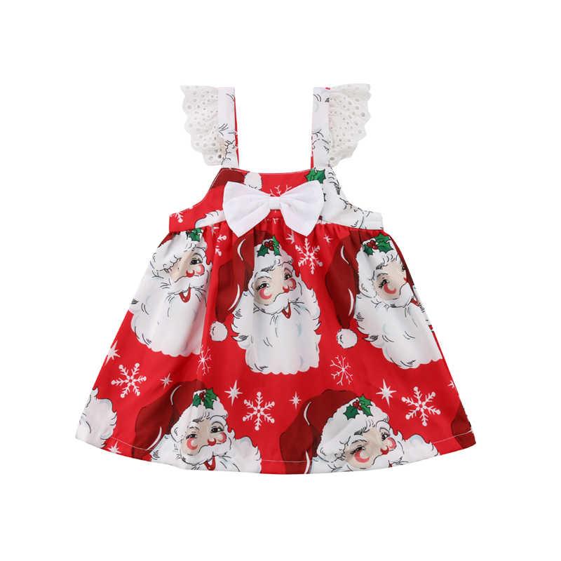 242d751f41fb3 Fashion Christmas Children Dresses Kids Girl Sleeveless Flower Print Party  Mini Dresses Princess Dress Baby Girls Xmas Clothes