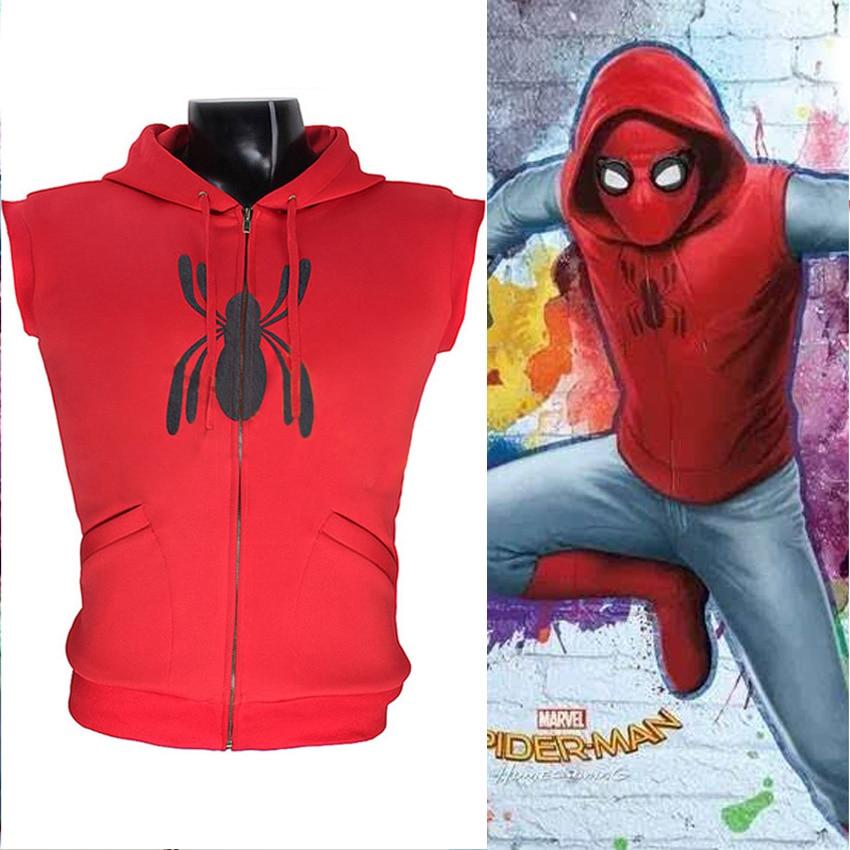 Movie Spider Man Homecoming Peter Parker Cosplay Spiderman FullZip Pullover Hoodies Men Vest Costom Made
