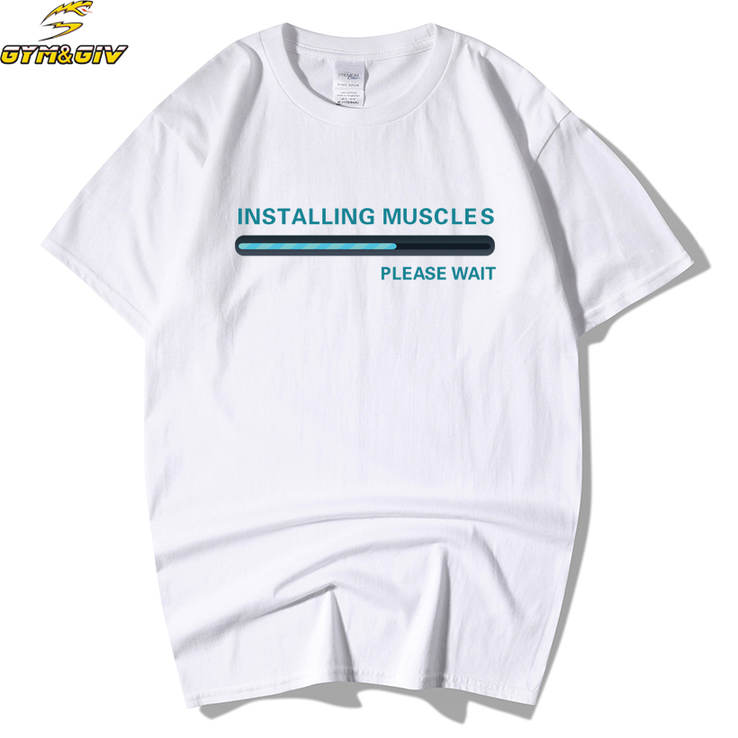 Euro Size,100% Cotton,Installing Muscles 2018 New Arrival T shirt Camiseta Men Bodybuilding and Fitness Men's t Shirts Top&Tee