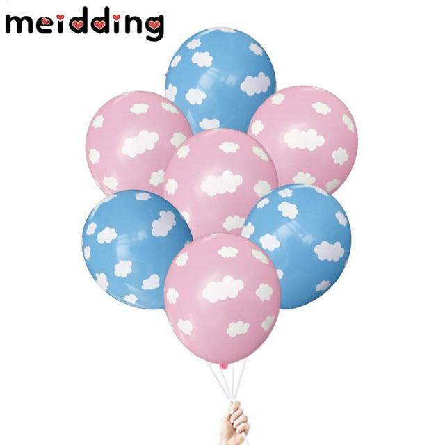 Meididng 10pcs Pinkblue White Cloud Balloons Birthday Wedding Decor
