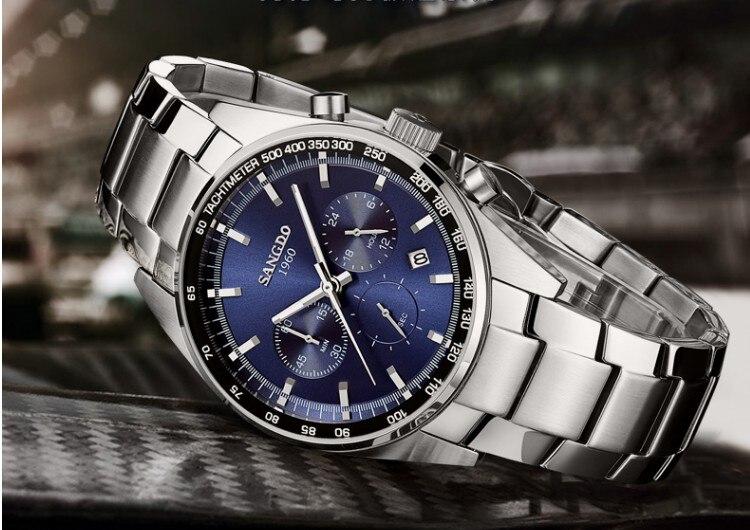 42MM SANGDO Chronograph multifunction Japanese quartz movement blue dial men's watch High quality new fashion Quartz watch 02