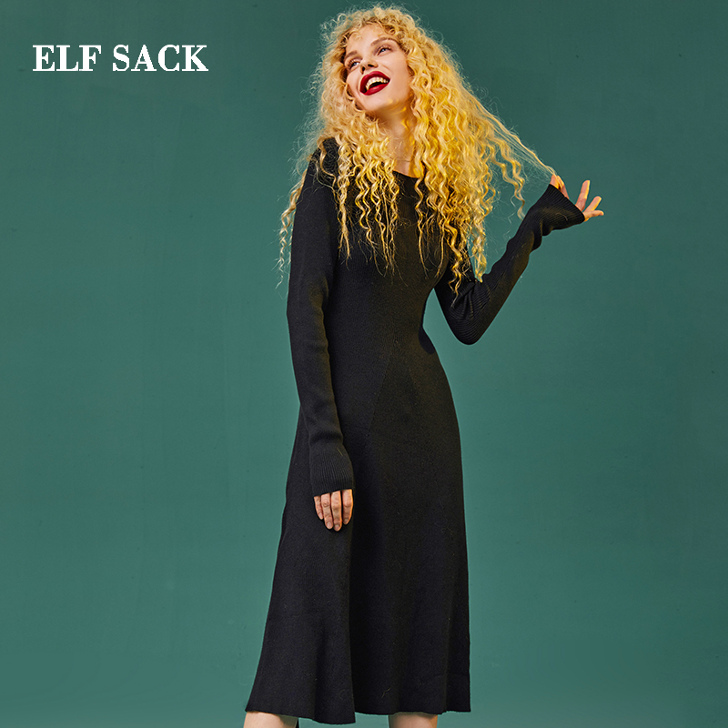 ELF SACK New Woman Dress Casual Solid Straight Full Women Dresses Knee Length O Neck Skinny