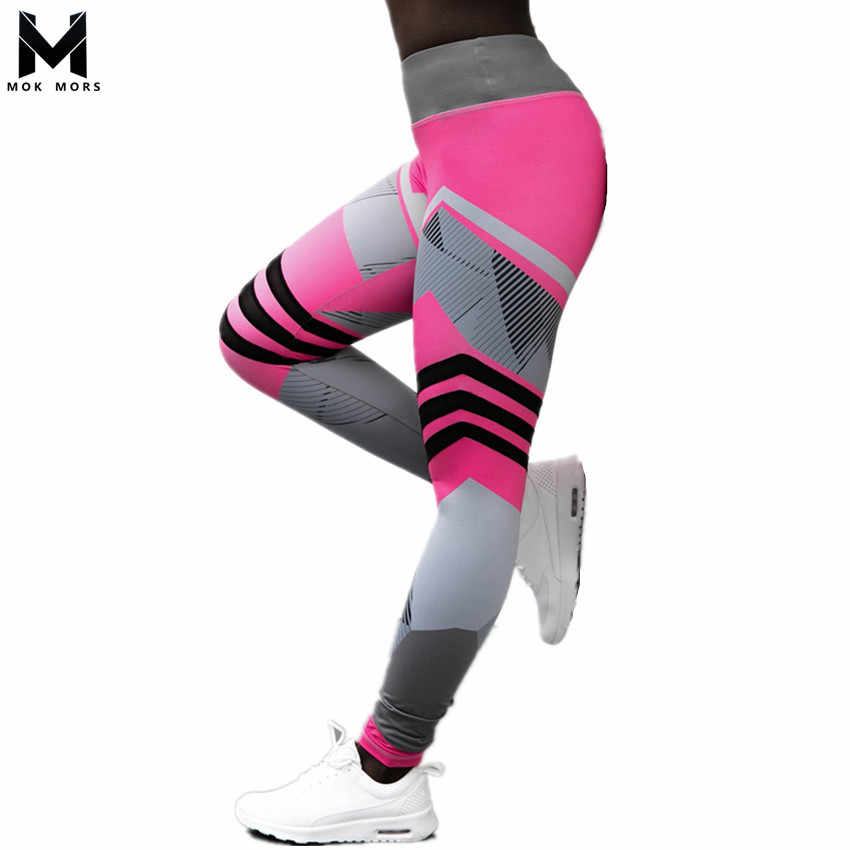 b42b705460 Plus Size Fitness Clothing Women Elastic Sporting Leggings Gradient Color  Stripe Print Workout Legging Push Up