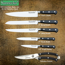 New Sunnecko 6PCS Kitchen Knife Set Stainless Steel Kitchen Knives 8″ inch Chef Bread Caking Knife Fruit Vegetable Cutter