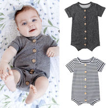 цены на US Stock 0-24M Newborn Infant Baby Boy Girl Short Sleeve Button Romper Jumpsuit Playsuit Cotton Summer Outfits Clothes в интернет-магазинах
