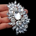 3.6 Inch Huge Brooch Silver Tone Luxury Big Glass Crystals Flower Wedding Bouquet Brooch Pins Elegant Jewelry Brooch
