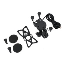 New Universal X-Shape Grip Metal+Plastic Motorcycle Mount Cell Phone Holder Universal Navigation Holder With USB Charger