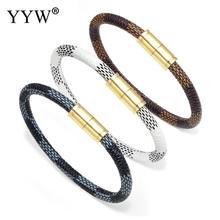 New Fashion Punk Cowhide Leather Men Bracelet Bangles for Women Jewelry Magnetic Snap Charm Gift