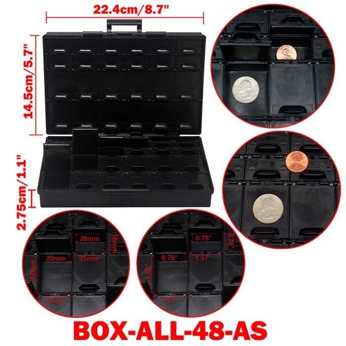 AideTek ESD Safe SMD хранилище IC Box Bins анти-статика SMT Органайзер транзисторный ящик для хранения электроники и органайзеры BOXALLAS - Цвет: BOXALL48AS