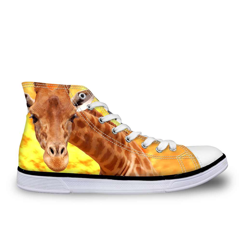 Noisydesigns Giraffe Dolphin cows printed boys students summer high top canvas male breathable footwear man casual shoes