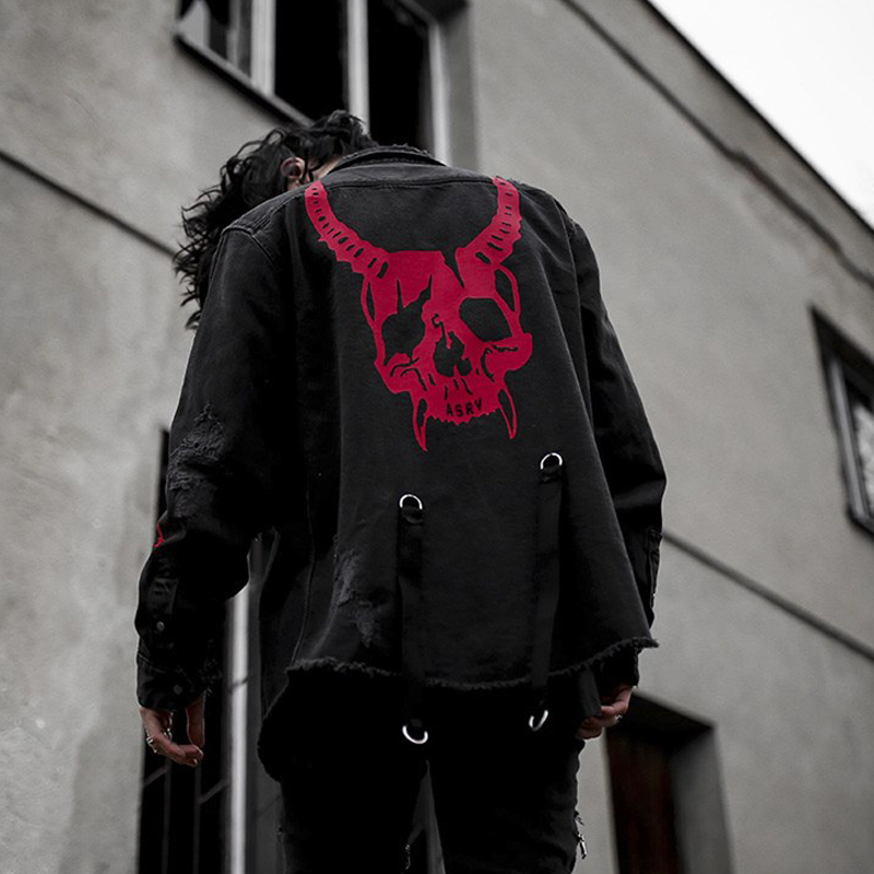 2019 New Men's Jacket Fashion Street Hip Hop Men Denim Jacket Plus Size S Xxxl Black Casual Long Sleeve Skull Jacket Sportswear