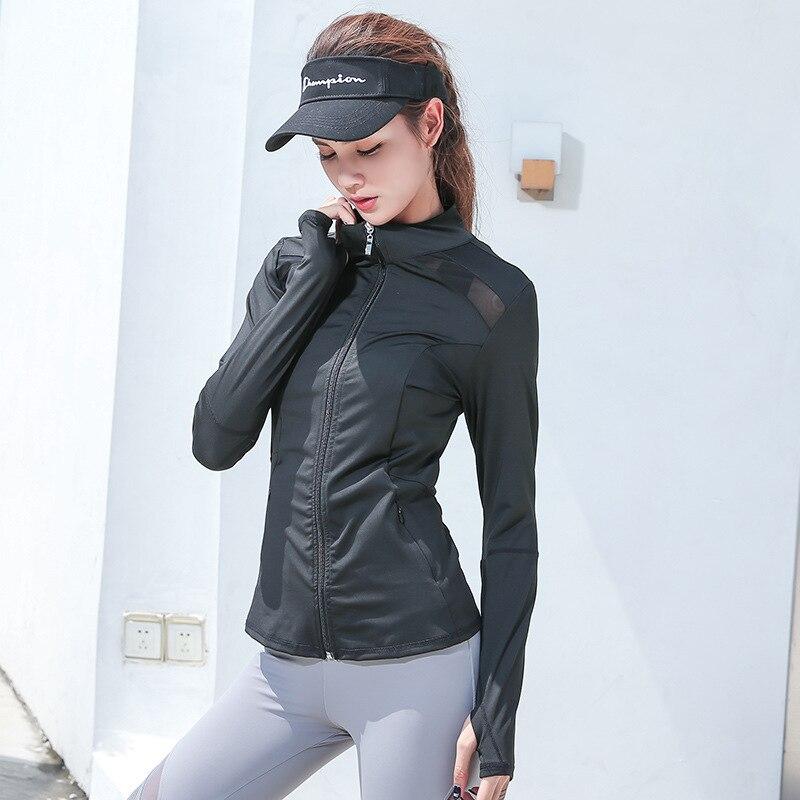 Patchwork Mesh Dance Fitness Jacket Women Full Zipper Running Coat Quick Dry Slim Gym Sport Jersey With Zipper Pocket