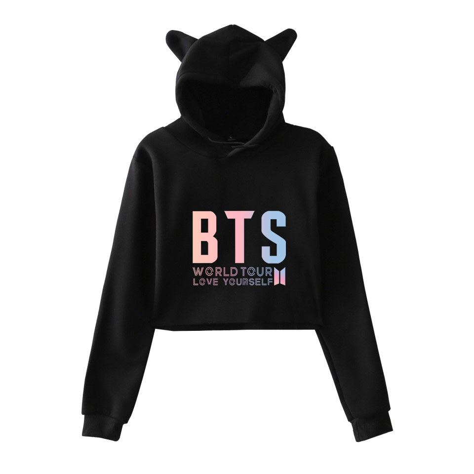LOVE YOURSELF BTS Korean Kpop Cool And Fashion Women Funny Cat Crop Top Sexy Hoodies Sweatshirt Fashion Cool Clothes XXS To XXL