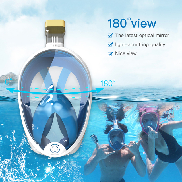 Diving Mask Underwater Anti fog panoramic Full Face Snorkel Women Men Kids Swimming Snorkeling Mask Scuba Goggles Camera Mount 2