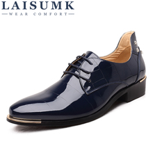 LAISUMK Men Oxford Shoes 2019 New Fashion PU Leather Lace-Up Business High Quality Dress Flats