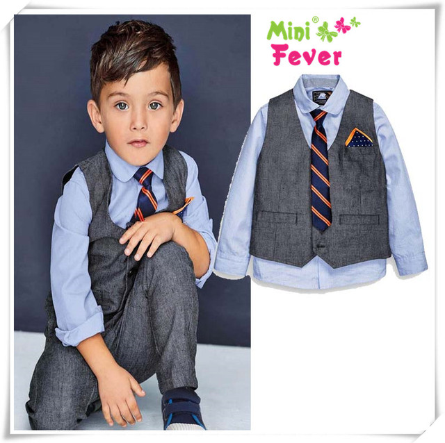 5b5bcc73a66ff Handsome boy clothing sets children suit spring/autumn Kids suit sets  cotton dressing shirts+vest+tie+trousers 4pcs suit m5452