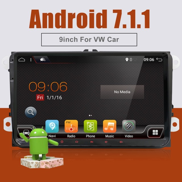 9 inch Android 7.1 Car DVD Player for vw passat b5 b6 golf 5 6 polo tiguan 2 din Radio Gps Stereo Multimedia PC 2G+16G in dash
