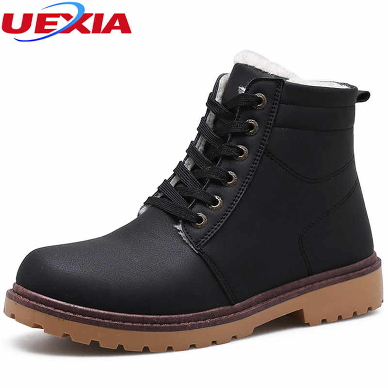 3bd5f5bb51f UEXIA New Winter Ankle Snow Boots for Men Warm With Plush Fur Work Safety  Casual Men Shoes