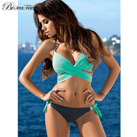 Biseafairy Sexy Criss Cross Bandage Bikini Women Swimsuit 2017 Push Up Swimwear Halter Bikini Set Beach