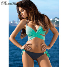Biseafairy Sexy Criss Cross Bandage Bikini Women Swimsuit 2017 Push Up Swimwear Halter Bikini Set Beach Bathing Suit Swim Wear
