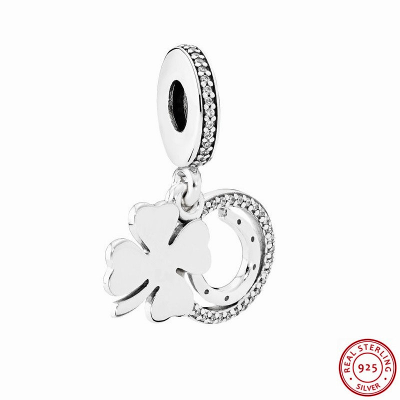 925 Sterling Silver Four Leaf Clover And Horseshoe Lucky