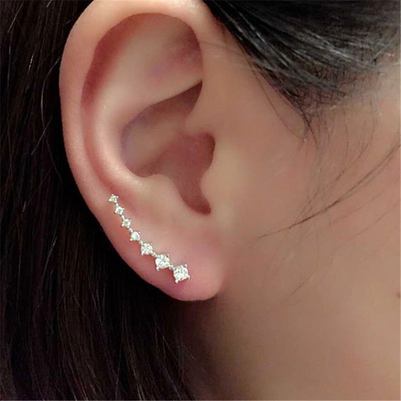 Rhinestone Stud Earrings Gold Silver Cyrstal Long Ear Hook Fine Jewelry Fashion Gift Woman Accessories In From