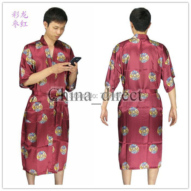 NEW Mens rayon silk Robe Pajama Lingerie Nightdress Kimono Gown pjs sleepwear Chinese traditional dragon print 6 color#3798