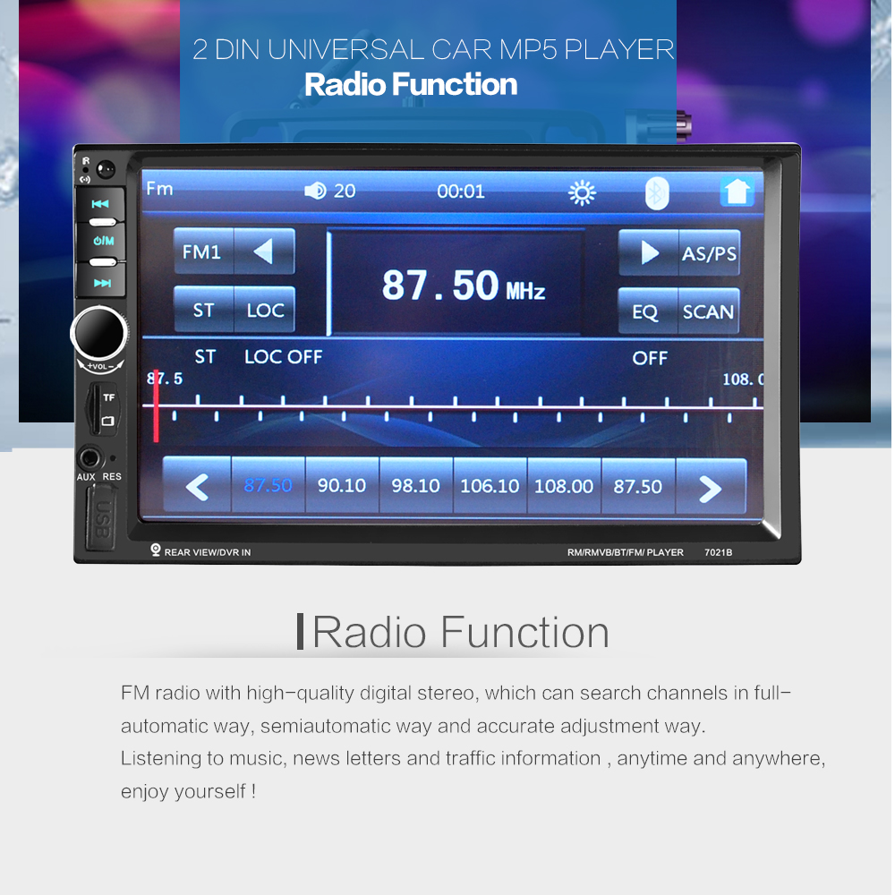 2 DIN 7 Inch Digital HD Touch Screen LCD Bluetooth Car Stereo MP5 Radio Player FM / TF / USB /SD Support Steering Wheel Control2 DIN 7 Inch Digital HD Touch Screen LCD Bluetooth Car Stereo MP5 Radio Player FM / TF / USB /SD Support Steering Wheel Control