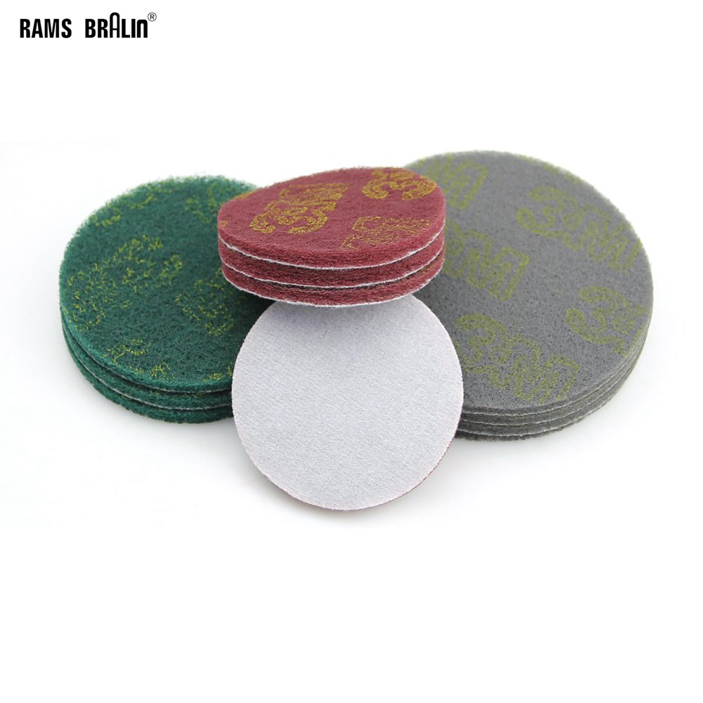 20 Pieces Hook & Loop Non-woven Abrasive Sanding Disc Coarse To Fine Quick-change Scour Pad