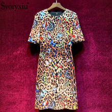 Svoryxiu vintage Leopard Butterfly Velvet Dress Womens Elegant Half Sleeve Early Autumn Runway Designer Midi Vestdios