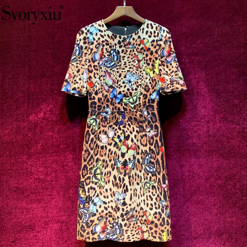 Svoryxiu vintage leopardo mariposa terciopelo Vestido Mujer elegante media manga temprano otoño pasarela diseñador Midi vestido-in Vestidos from Ropa de mujer    1