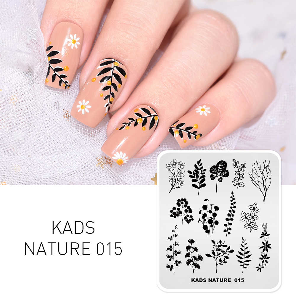 Manicure Stamp Nail Template Spring Plants Green Leaves Stamping Plates  Printer Stencil Nail Art Tools Design Template