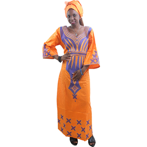 Image 1 - MD ladies african dresses scarf african bazin riche dress with embroidery head wrap women maxi dress african print dresses kanga