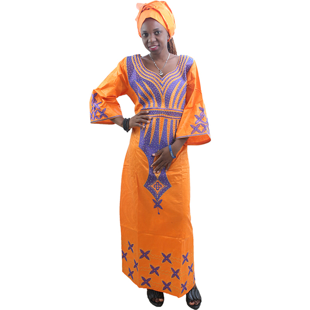 MD ladies african dresses scarf african bazin riche dress with embroidery head wrap women maxi dress african print dresses kanga