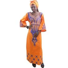 MD السيدات فساتين الأفريقية وشاح الأفريقية بازان الثراء فستان مع رئيس التطريز التفاف المرأة ماكسي فستان الأفريقية طباعة فساتين كانغا