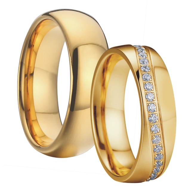 Anniversary Couple Wedding Band Men's ring Gold Color Alliances anillos anel Promise Jewelry Engagement Rings for women