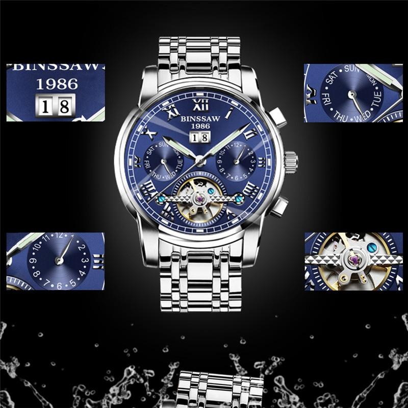 BINSSAW Avtomatik Turbillon Kişi Mexanik Saat Markası Lüks - Kişi saatları - Fotoqrafiya 4