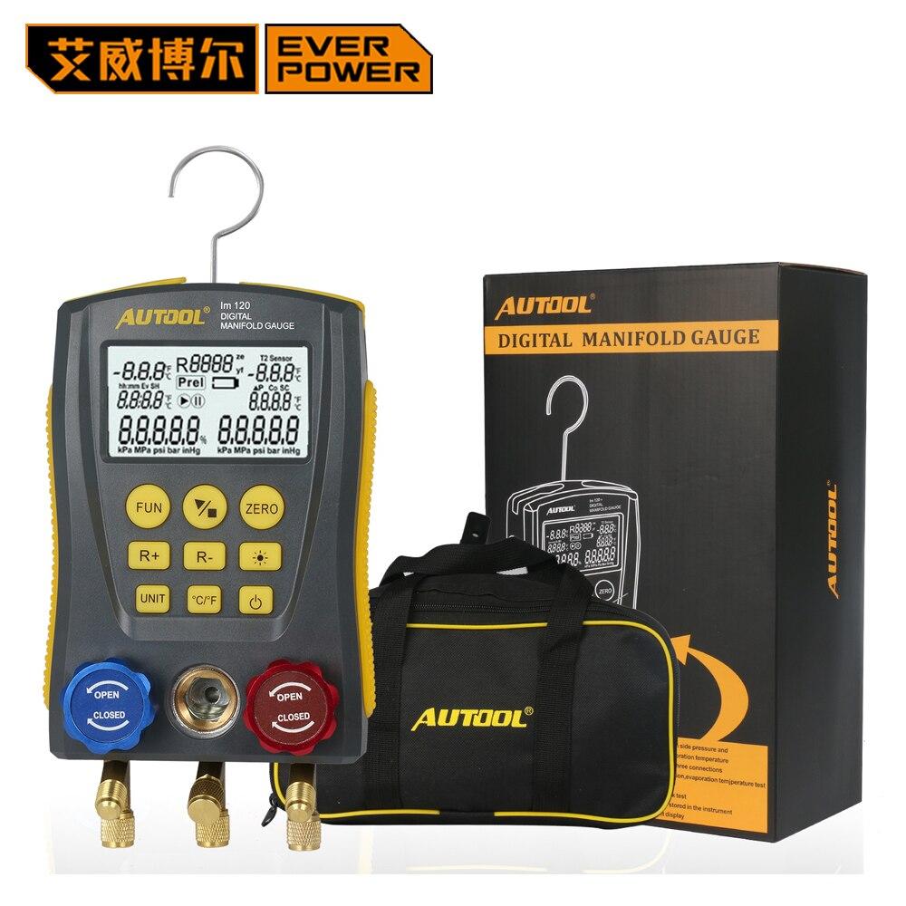 Everpower HVAC Холодильный цифровой коллектор инструменты манометр вакуумный измеритель давления температура тесты er с тесты клип и трубы
