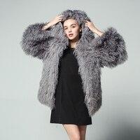 Мода 2017 г. Природные Монголии овец меха с капюшоном пальто Для женщин полным ходом пальто зима женский с длинным рукавом Теплый Верхняя одеж