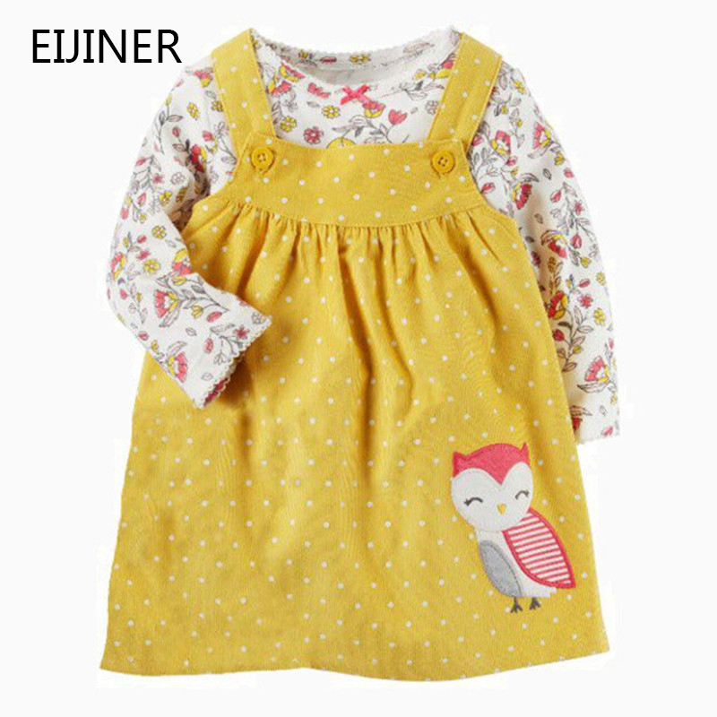 2Pcs   Flower     Girls     Dresses   Spring 2019 Cotton   Girl   Princess   Dress   Cartoon Owl Children   Dresses   Vestidos Long Sleeve Kids   Dresses