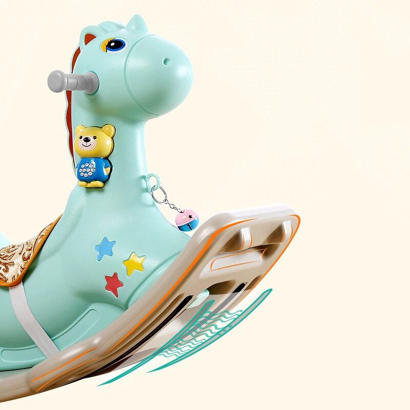 Bébé brillant enfants cheval à bascule bébé chambre Ride sur jouets jeux extérieur/intérieur pour enfants 1-6 ans chaise en plastique épais - 3