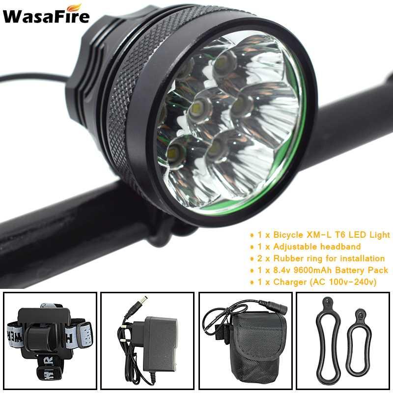 WasaFire 10000lm 7 * XML T6 LED Vélos De Vélo Avant Lumière lampe de Poche 9600 mah Rechargeable Batterie Pack Vélo Phare Phare
