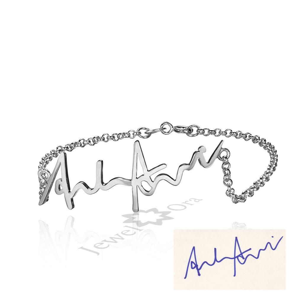 Personalized Genuine Silver Signature Name Bracelet Custom Thanksgiving Gifts 925 Sterling Silver Handwritten Jewelry 3 Colors epiphone ltd matt heafy signature les paul custom ebony