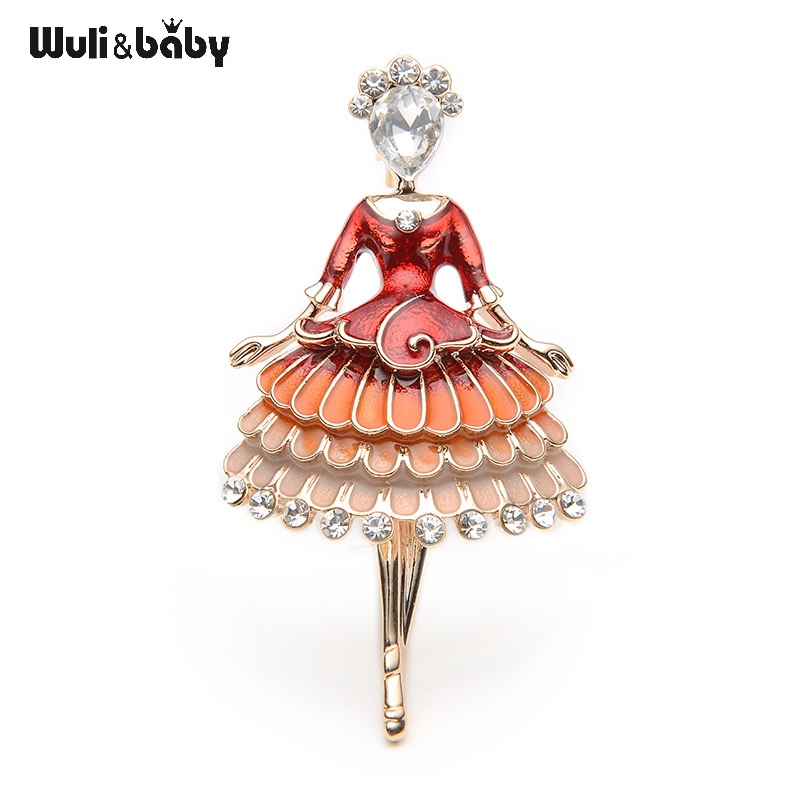 Red Enamel Princess Fairy Brooch Ballet Girl Banquet Dress Suits Scarf Women Brooches Pin Size 5