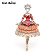 Red Enamel Princess Fairy Brooch Ballet Girl Banquet Dress Suits Scarf Women Brooches Pin Size 5.7*3.4CM
