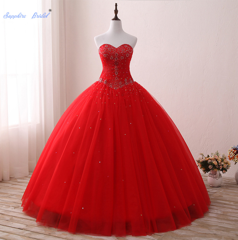 Sapphire Bridal Red Sparkly Beading Long Ball Gowns Vestidos De 15 Anos Sweetheart Sexy Quinceanera Dresses Formal Prom Dress