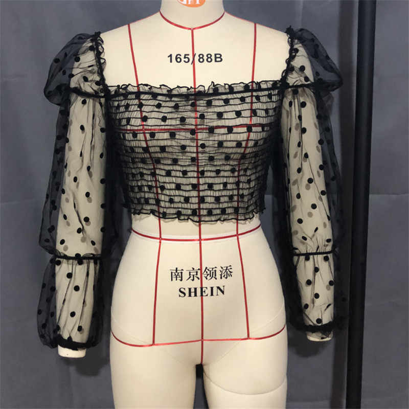 2019 Freeship ผู้หญิงตาข่าย Sheer Crop Tops Cover - Ups ฤดูร้อน Star Dot พิมพ์พัฟแขนเสื้อลูกไม้ดูผ่าน Cover - Ups