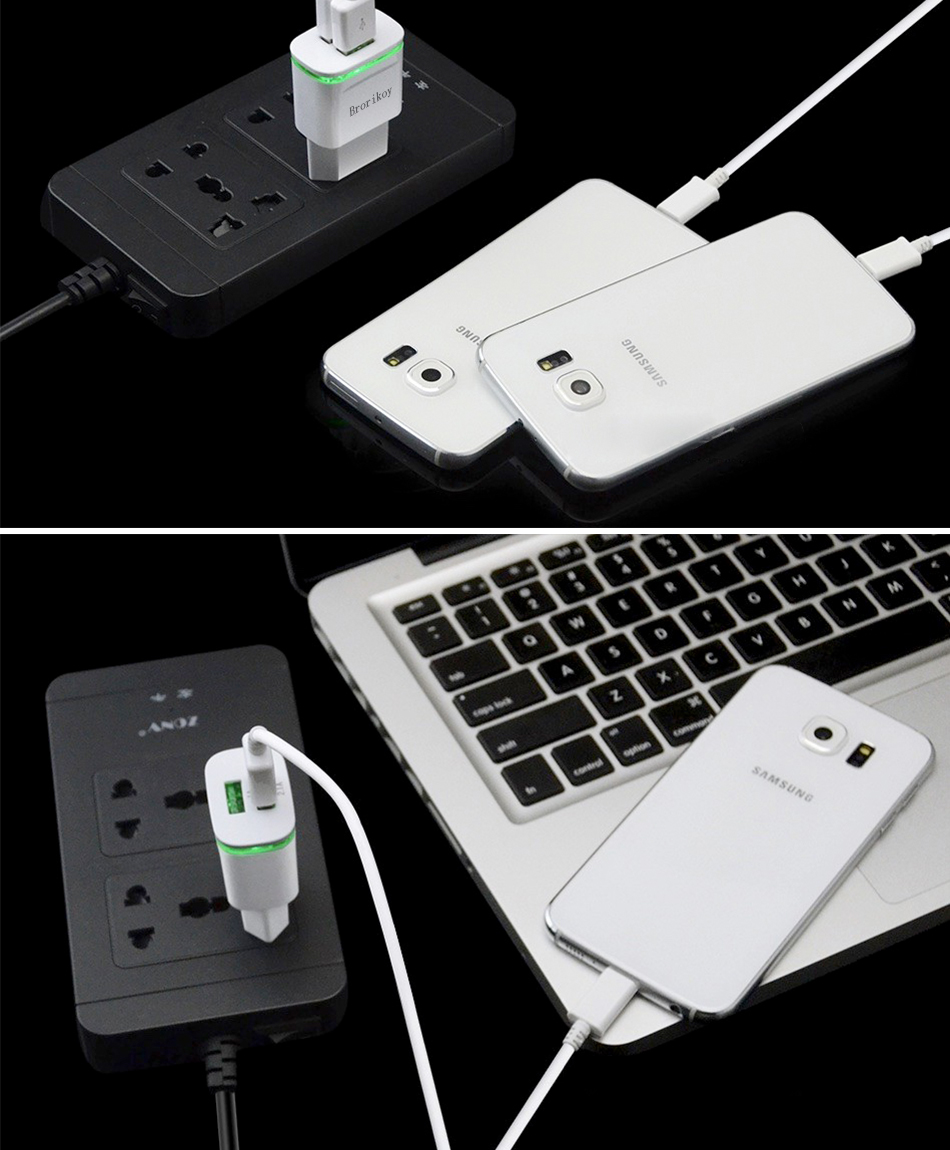Universal Usb Phone Charger For Iphone Samsung S 6 7 8 Plus Bolt 21a Fast Charge 3in1 Cable Two Plug Devices Simultaneously Ideal Travelhome Or Office Offers Efficient Charging High Efficiency And Low Energy