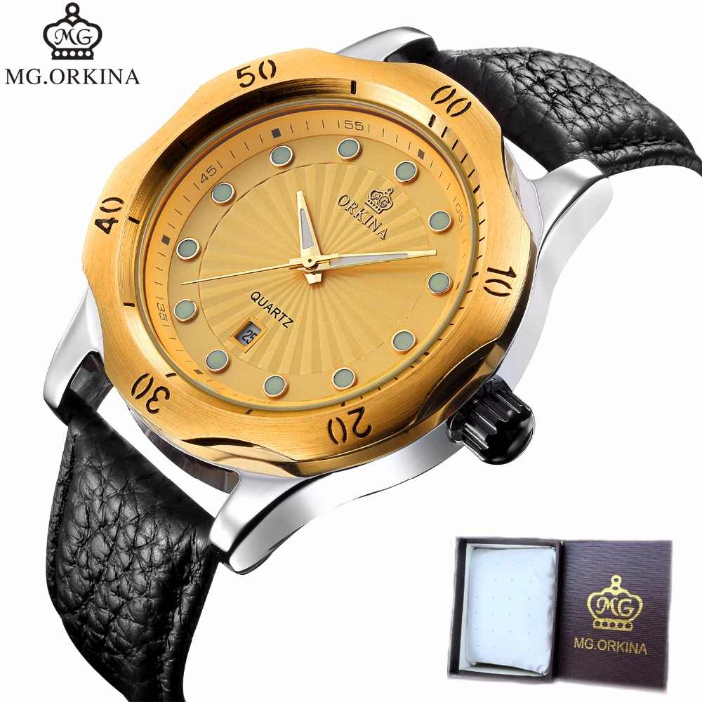 MG ORKINA クォーツ腕時計男性用腕時計トップブランドの高級有名な腕時計時計レロジオ Masculino Relog 男性 Hodinky